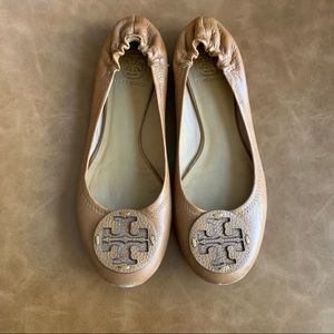 Tory Burch Brown Leather Reva Flat Size 9.5